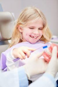 Mädchen übt Zähneputzen an einem Gebiss beim Kinderzahnarzt